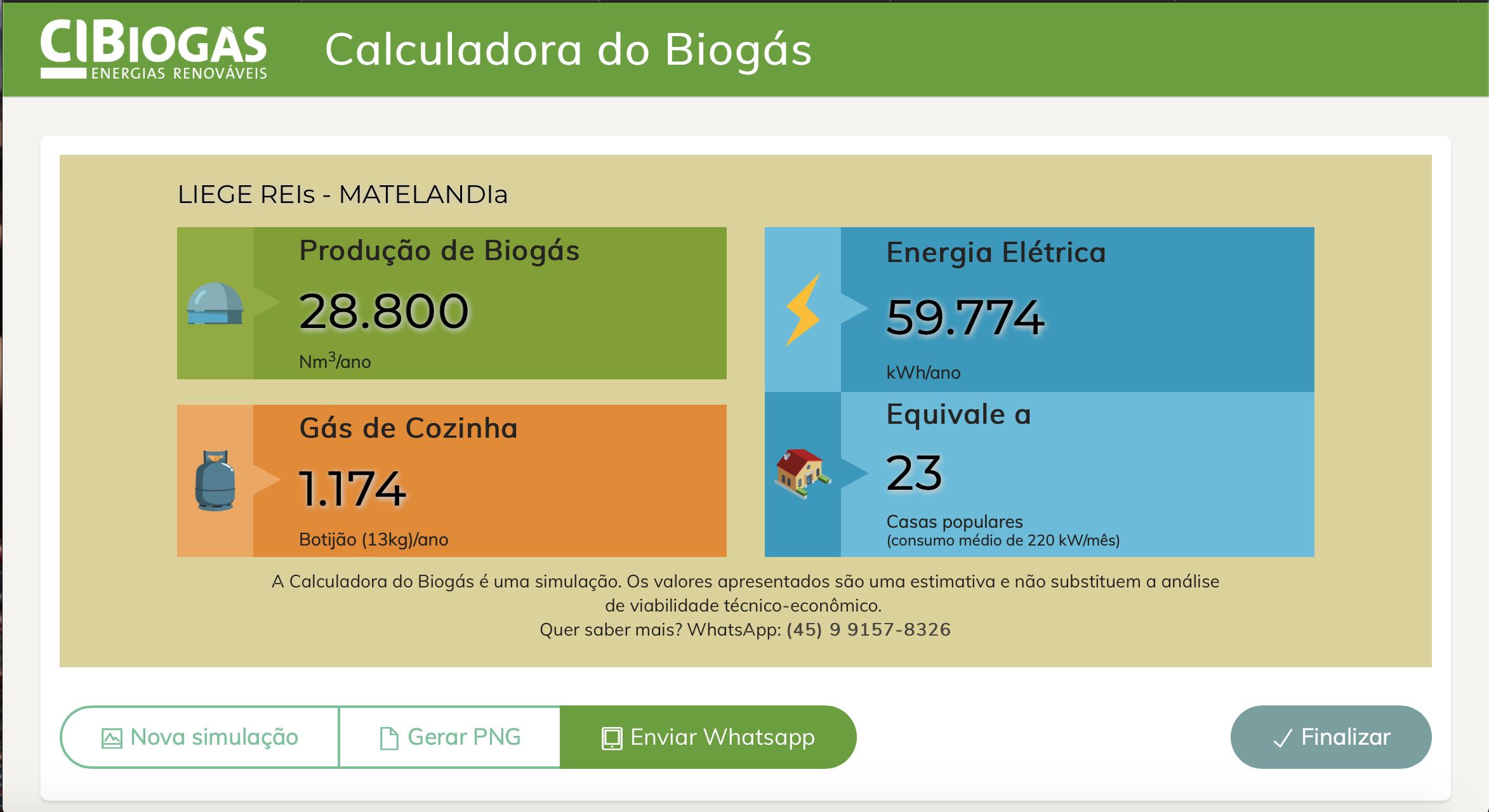 resultado de cálculos realizados pela Calculadora de Biogás do CIBiogás lançamento Show Rural Coopavel