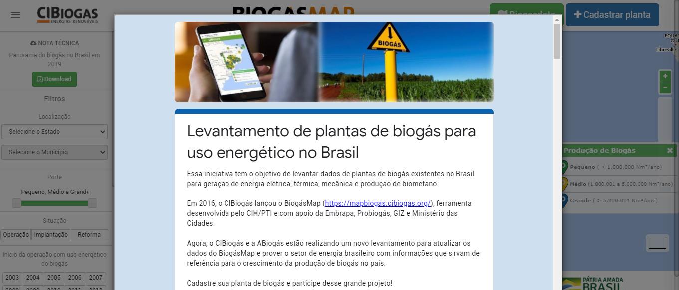 Mapa do biogas no Brasil - Registro de plantas